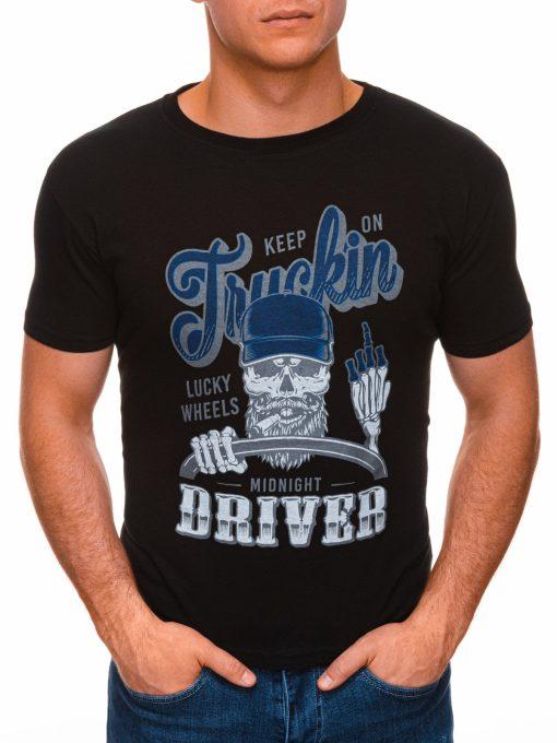 Juodi vyriški marškinėliai su užrašu ir kaukole internetu pigiau S1407 17384-1