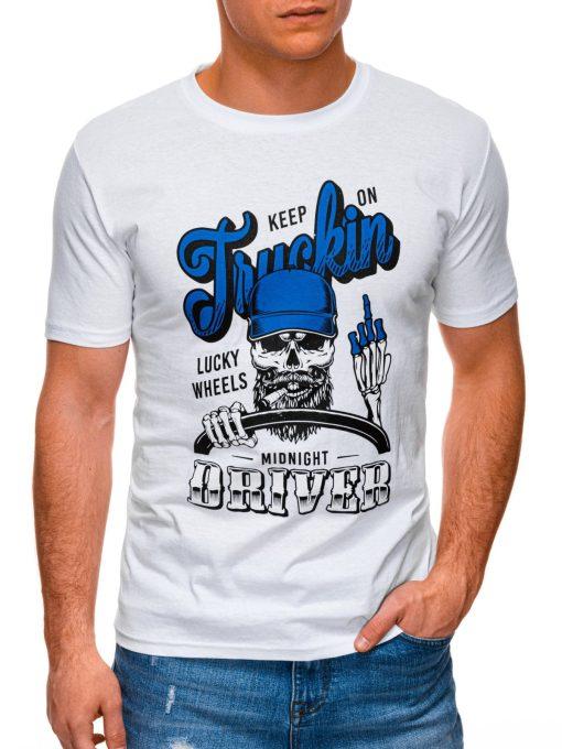 Balti vyriški marškinėliai su užrašu ir kaukole internetu pigiau S1407 17386-1