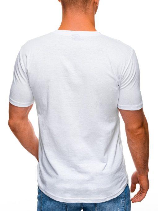 Balti marskineliai vyrams su kaukole ir uzrasu internetu pigiau S1407 17386-4