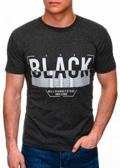 Juodi vyriški marškinėliai su užrašu internetu pigiau S1402 17387-1