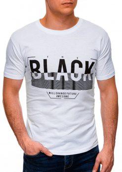 Balti vyriški marškinėliai su užrašu internetu pigiau S1402 17389-1