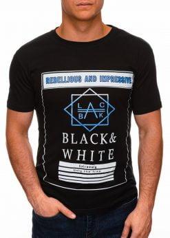 Juodi vyriški marškinėliai su užrašu internetu pigiau S1406 17390-1