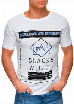 Balti vyriški marškinėliai su užrašu internetu pigiau S1406 17391-1