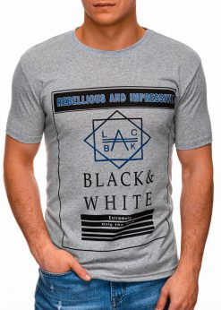 Pilki vyriški marškinėliai su užrašu internetu pigiau S1406 17393-1