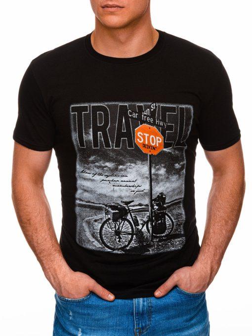 Juodi vyriški marškinėliai su nuotrauka internetu pigiau S1398 17394-1