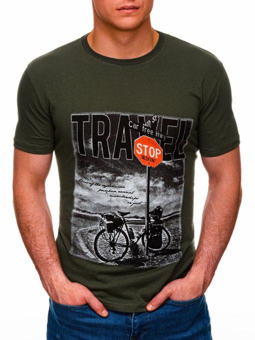 Chaki vyriški marškinėliai su nuotrauka internetu pigiau S1398 17395-1