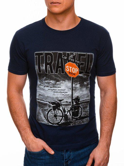 Tamsiai mėlyni vyriški marškinėliai su nuotrauka internetu pigiau S1398 17396-1