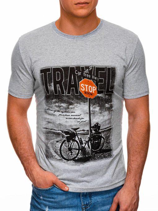 Pilki vyriški marškinėliai su nuotrauka internetu pigiau S1398 17397-1