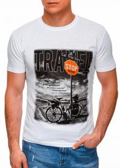 Balti vyriški marškinėliai su nuotrauka internetu pigiau S1398 17398-1