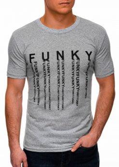 Pilki vyriški marškinėliai su užrašu internetu pigiau S1397 17407-1
