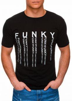 Juodi vyriški marškinėliai su užrašu internetu pigiau S1397 17408-1
