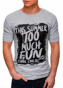 Pilki vyriški marškinėliai su užrašu pigiau internetu S1395 17410-1