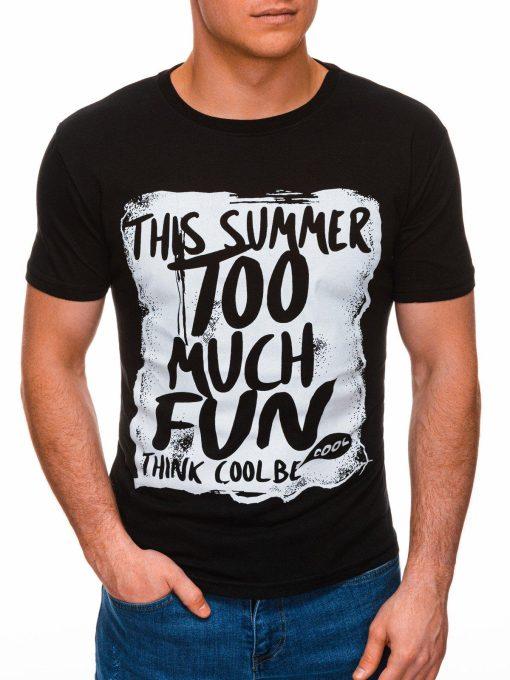 Juodi vyriški marškinėliai su užrašu pigiau internetu S1395 17413-1