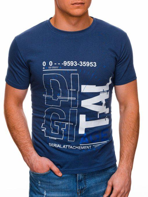 Mėlyni vyriški marškinėliai su užrašu internetu pigus S1396 17427-1