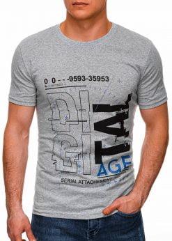 Pilki vyriški marškinėliai su užrašu internetu pigus S1396 17428-1