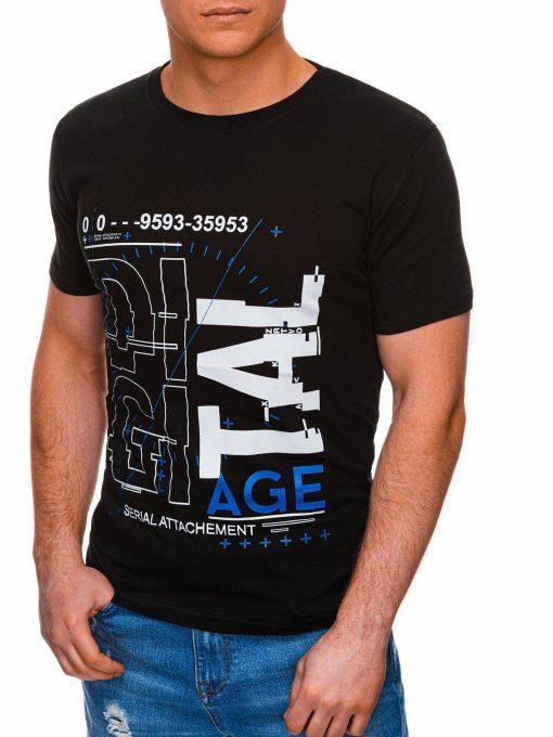 Juodi vyriški marškinėliai su užrašu internetu pigus S1396 17430-3