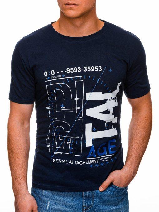 Tamsiai mėlyni vyriški marškinėliai su užrašu internetu pigus S1396 17433-1