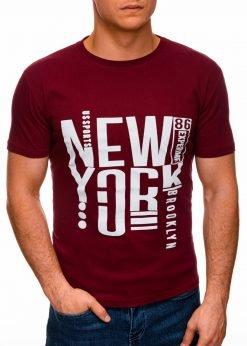 Tamsiai raudoni vyriški marškinėliai su užrašu internetu pigiau S1400 17363-1