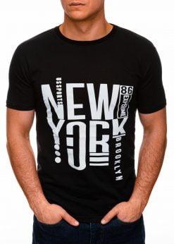 Juodi vyriški marškinėliai su užrašu internetu pigiau S1400 17364-1
