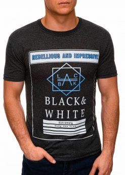 Tamsiai pilki vyriški marškinėliai su užrašu internetu pigiau S1406 17392-1