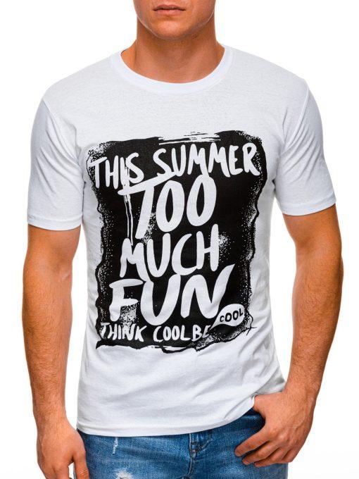 Balti vyriški marškinėliai su užrašu internetu pigiau S1395 17414-1