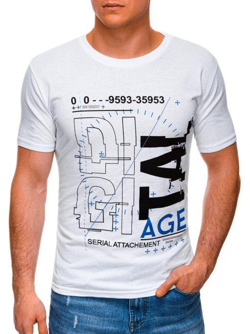 Balti vyriški marškinėliai su užrašu internetu pigus S1396 17434-1