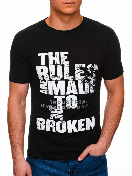 Juodi vyriški marškinėliai su užrašu internetu pigiau S1399 17452-1