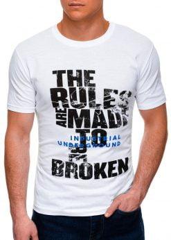Balti vyriški marškinėliai su užrašu internetu pigiau S1399 17454-1