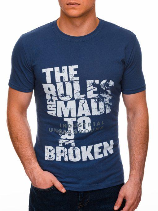 Mėlyni vyriški marškinėliai su užrašu internetu pigiau S1399 17455-1