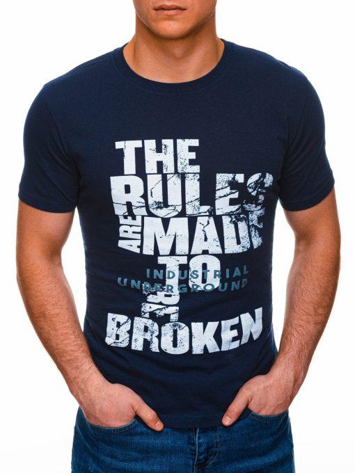 Tamsiai mėlyni vyriški marškinėliai su užrašu internetu pigus S1399 17456-1