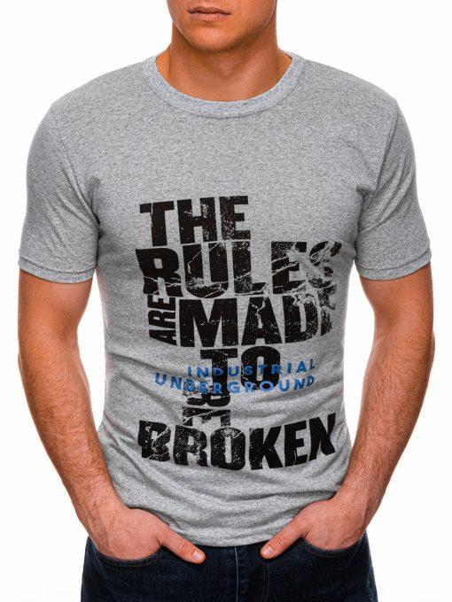 Pilki vyriški marškinėliai su užrašu internetu pigiau S1399 17457-1