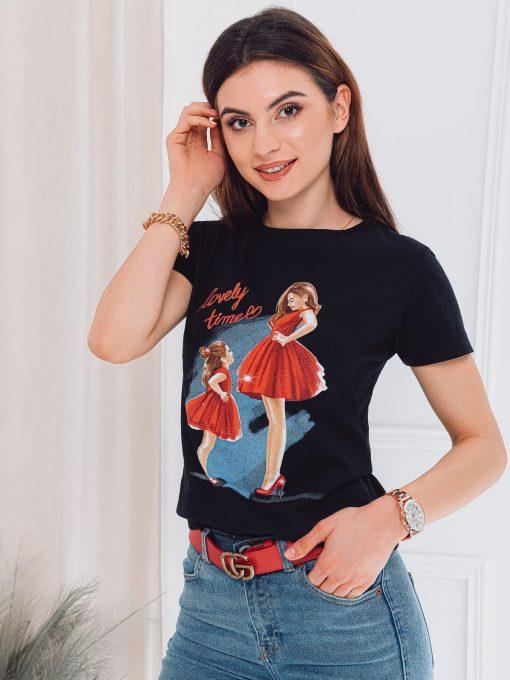 Juodi moteriski marskineliai su paveiksliukais internetu pigiau SLR011 17539-2