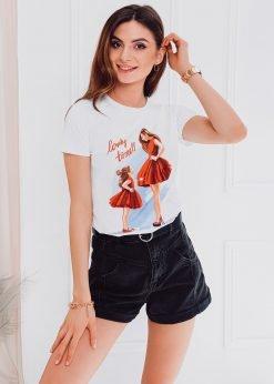 Balti moteriški marškinėliai su paveiksliukais internetu pigiau SLR011 17540-1