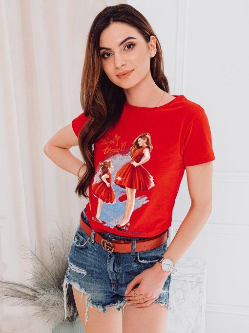 Raudoni moteriški marškinėliai su paveiksliukais internetu pigiau SLR011 17541-1