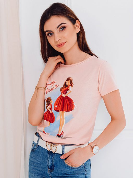 Rožiniai moteriški marškinėliai su paveiksliukais internetu pigiau SLR011 17542-3