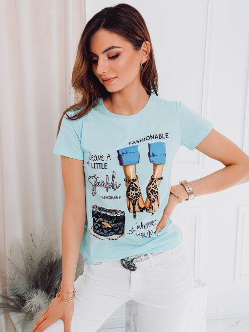 Mėtiniai moteriški marškinėliai su paveiksliukais internetu pigiau SLR007 17555-1