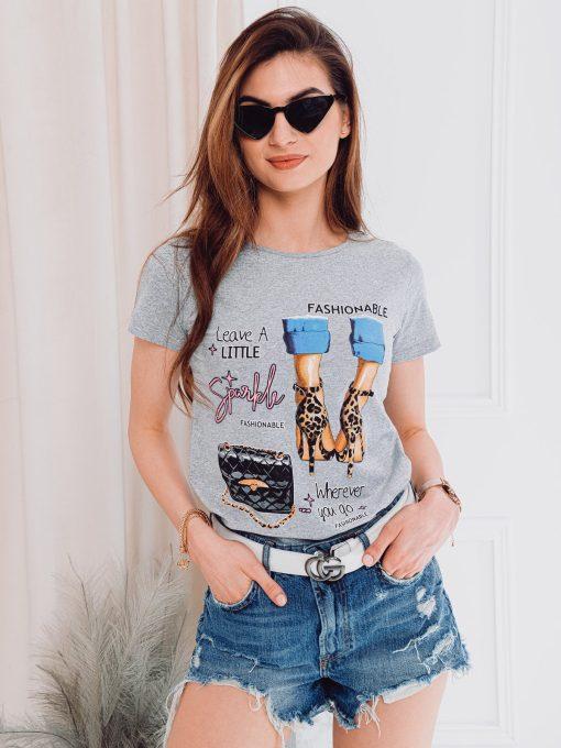 Pilki moteriški marškinėliai su paveiksliukais internetu pigiau SLR007 17556-1