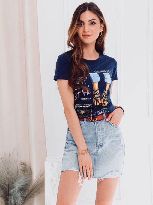 Tamsiai mėlyni moteriški marškinėliai su paveiksliukais internetu pigiau SLR007 17557-2