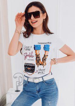 Balti moteriški marškinėliai su paveiksliukais internetu pigiau SLR007 17559-3