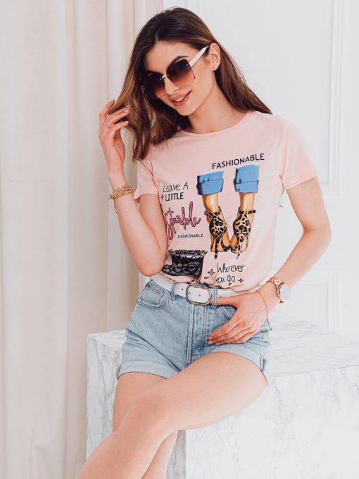 Rožiniai moteriški marškinėliai su paveiksliukais internetu pigiau SLR007 17561-3