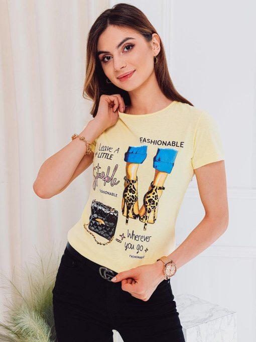 Geltoni moteriški marškinėliai su paveiksliukais internetu pigiau SLR007 17562-4
