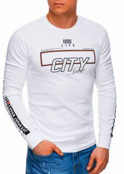Baltas džemperis vyrams su užrašu internetu pigiau B1286 17589-1