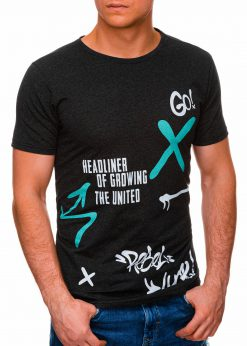 Juodi melanžiniai vyriški marškinėliai su užrašu pigiau internetu S1408 17864-4