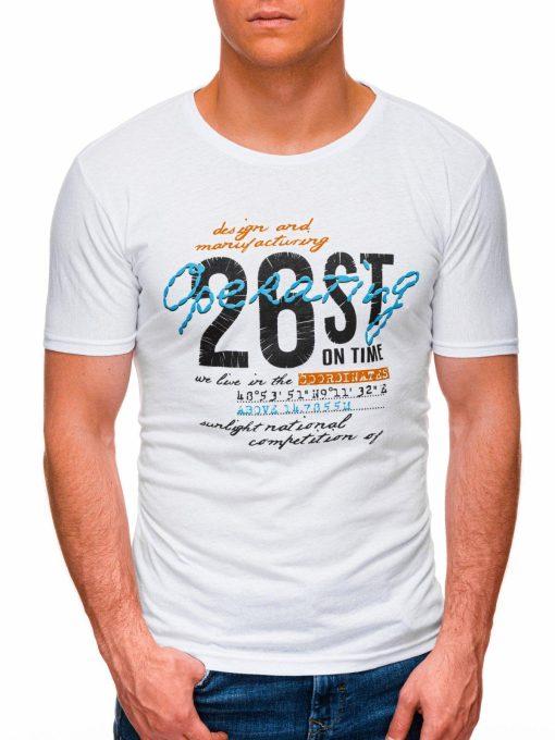 Balti vyriški marškinėliai su užrašu internetu pigiau S1422 17877-1