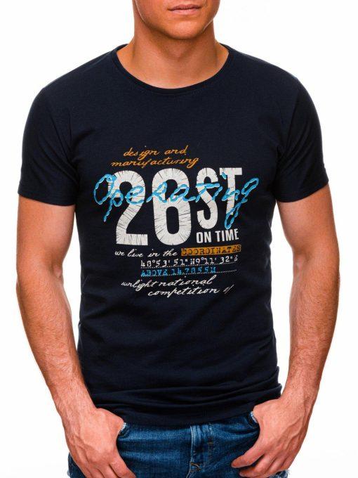 Tamsiai mėlyni vyriški marškinėliai su užrašu internetu pigiau S1422 17879-1