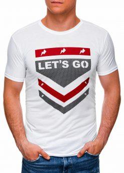 Balti vyriški marškinėliai su užrašu internetu pigiau S1423 17881-1
