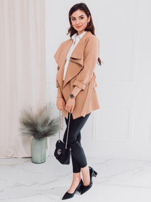 Tamsiai rusvas moteriškas paltas internetu pigiau CLR010 17894-2