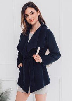 Tamsiai mėlynas moteriškas paltas internetu pigiau CLR010 17896-1