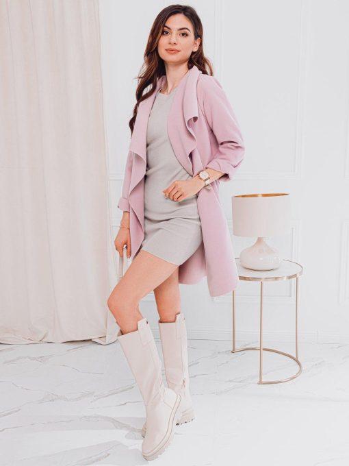 Rozinis moteriskas paltas pavasariui internetu pigiau CLR011 17901-1