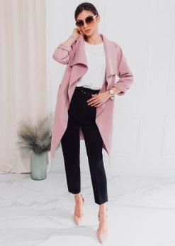 Rozinis moteriskas paltas pavasariui internetu pigiau CLR011 17906-3
